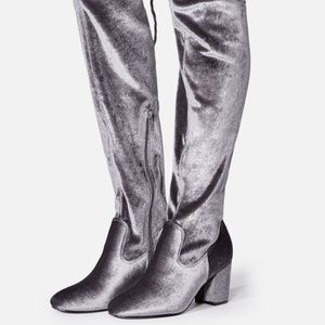 Shoes - JustFab Grey Adina Over The Knee Boot- 9